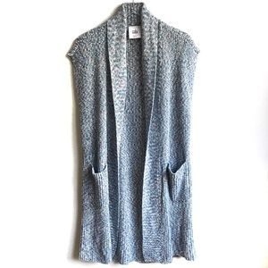CAbi Napa Vest Knit Sweater Marled Blue White XS